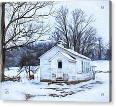 Winter At The Amish Schoolhouse Acrylic Print