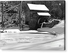 Winter At The Mill In Black And White Acrylic Print by Paul Ward