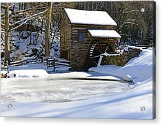 Winter At The Mill Acrylic Print by Paul Ward