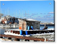 Winter At The Olcott Beach Fishing Shack Acrylic Print by Michael Allen