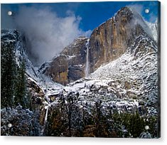 Winter At Yosemite Falls Acrylic Print by Bill Gallagher