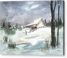 Winter Barn And Tractor Acrylic Print by Sean Seal