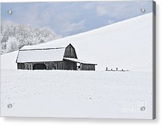 Winter Barn Acrylic Print by Benanne Stiens