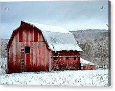 Winter Barn Acrylic Print by Deena Stoddard