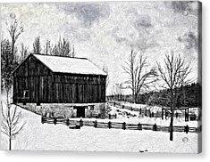 Winter Barn Impasto Version Acrylic Print by Steve Harrington
