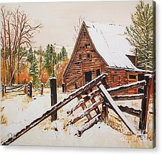 Winter - Barn - Snow In Nevada Acrylic Print