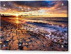 Winter Beach Sunset Acrylic Print by Alexis Birkill