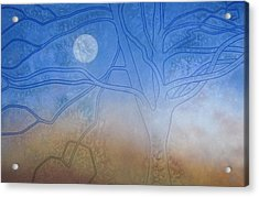 Winter Beech And Diurnal Moon Acrylic Print