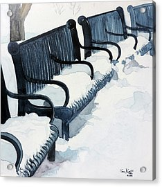 Acrylic Print featuring the painting Winter Benches by Tom Riggs