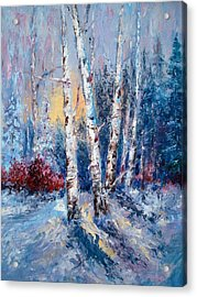 Winter Birch Trees Acrylic Print by Holly LaDue Ulrich
