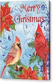 Winter Blue Cardinals-merry Christmas Card Acrylic Print
