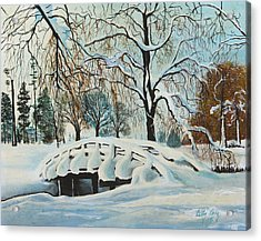 Acrylic Print featuring the painting Winter Bridge by Cathy Long