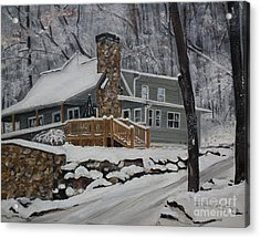 Acrylic Print featuring the painting Winter - Cabin - In The Woods by Jan Dappen