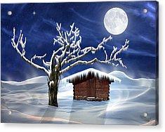 Winter Cabin Acrylic Print by Nina Bradica
