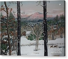 Acrylic Print featuring the painting Winter - Cabin - Pink Knob by Jan Dappen