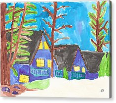 Acrylic Print featuring the painting Winter Cabins by Artists With Autism Inc