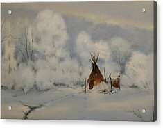 Winter Camp Acrylic Print by Richard Hinger
