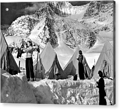 Winter Camping Acrylic Print by Underwood Archives