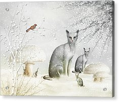Winter Cats Acrylic Print by Elaine Manley