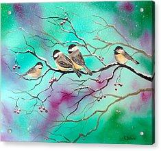 Winter Chickadees Acrylic Print
