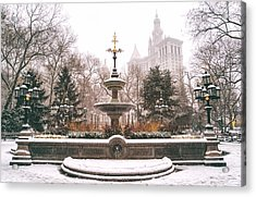Winter - City Hall Fountain - New York City Acrylic Print by Vivienne Gucwa