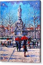 Winter City Scene - The Square  Marshal Lyautey In Lyon - France Acrylic Print by Mona Edulesco