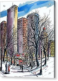Acrylic Print featuring the painting Winter City by Terry Banderas