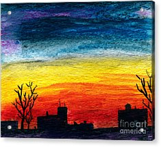 Winter City Twilight Acrylic Print by R Kyllo