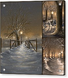 Winter Collage Acrylic Print by Veronica Minozzi