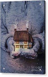 Winter Cottage At Night Acrylic Print by Amanda Elwell