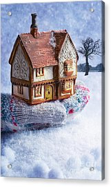 Winter Cottage In Gloved Hand Acrylic Print by Amanda Elwell