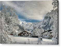 Winter Dream In Engelberg Acrylic Print by Caroline Pirskanen