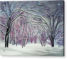 Winter Fairies Acrylic Print by Barbara McMahon