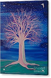 Acrylic Print featuring the painting Winter Fantasy Tree by First Star Art