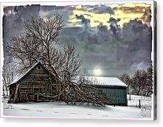 Winter Farm Polaroid Transfer  Acrylic Print by Steve Harrington
