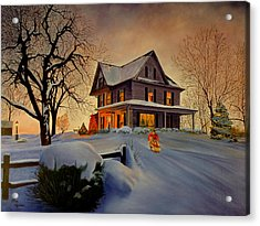 Acrylic Print featuring the painting Winter Fun by Rick Fitzsimons