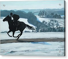 Winter Gallops Acrylic Print by Leigh Banks