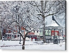 Winter Gazebo Acrylic Print by Joann Vitali
