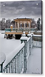 Acrylic Print featuring the photograph Winter Gazebo by Steven Reed