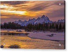 Winter Glow Over The Tetons Acrylic Print