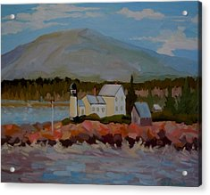 Acrylic Print featuring the painting Winter Harbor Light by Francine Frank
