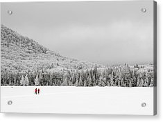 Winter Hikers On Lonesome Lake Acrylic Print