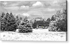Winter House On The Prairie Acrylic Print by John Hix