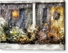 Winter - House - One Snowy Night Acrylic Print by Mike Savad