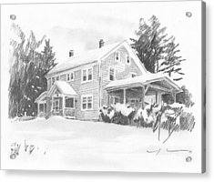 Winter House Pencil Portrait Acrylic Print by Mike Theuer