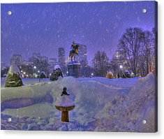 Winter In Boston - George Washington Monument - Boston Public Garden Acrylic Print by Joann Vitali