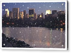 Winter In Central Park Acrylic Print by David Klaboe