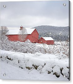 Winter In Connecticut Square Acrylic Print by Bill Wakeley