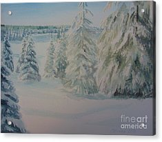 Acrylic Print featuring the painting Winter In Gyllbergen by Martin Howard