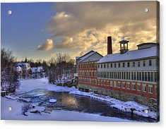 Winter In Milford New Hampshire Acrylic Print by Joann Vitali